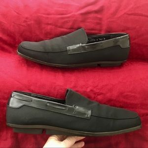 Gucci leather and fabric loafers Gently used 12.5D